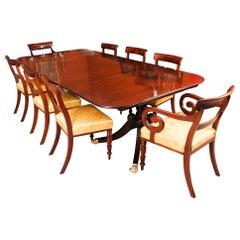 Antique Twin Pillar Regency Dining Table & 8 Regency Chairs 19th Century
