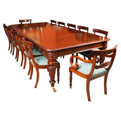 Antique William iv Mahogany Dining Table 19th C & 12 Bar Back Dining Chairs