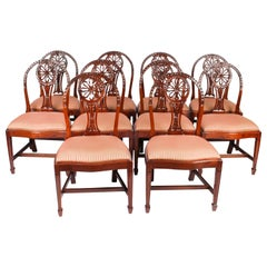 Vintage Set 10 English Mahogany Regency Dining Chairs Mid 20th Century