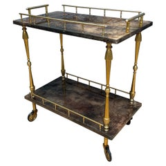 Petit Lacquered Goatskin and Brass Serving Table/Bar Cart by Aldo Tura