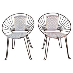 Pair Mid-Century Hoop Chairs with Caned Seat and Back