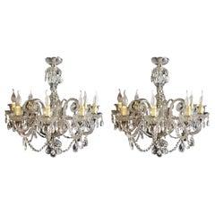 Vintage Pair Venetian 8 Light Chandeliers 20th Century