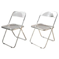 """1970s Folding Clear Lucite """"Plia"""" Chair by Piretti for Castelli, Italy, a Pair"""