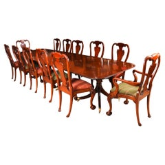 Vintage 3 Pillar Dining Table by William Tillman & 12 Dining Chairs 20th C