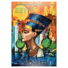 Original Vintage Travel Poster Fly United Arab Airlines Jets Egypt Nefertiti Art