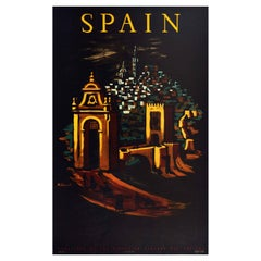 Original Vintage Travel Poster For Spain Ft. Walled City Gate Night View Artwork