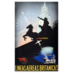 Original Vintage Airline Travel Poster Madrid To London BEA To The Whole World