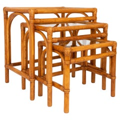 Mid Century Bamboo and Rattan Nesting Tables Side End Tables, Italy, C.1960