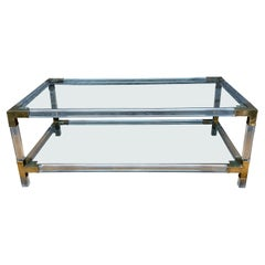 French Two Tiered Lucite and Brass Coffee Table