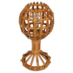 Globe Rattan Table Lamp Louis Sognot Style, France, 1960s