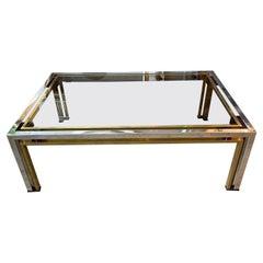 Italian Brass and Chrome Coffee Table by Romeo Rega