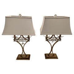 Beautiful Pair of Antiqued Silver Leaf and Crystal Table Lamps