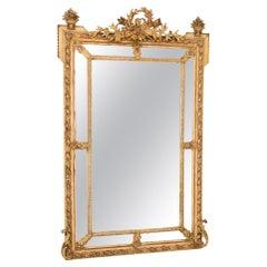French Antique Crested Margin Mirror in Original Parcel-Gilt