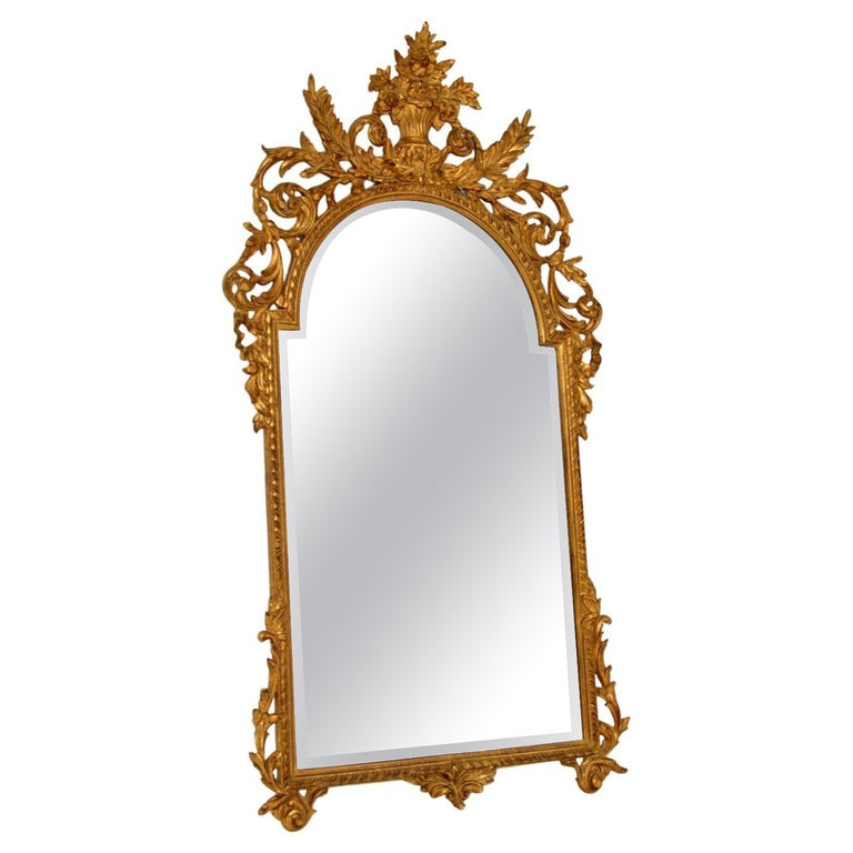 Large Antique French Carved Gilt Wood Mirror For Sale