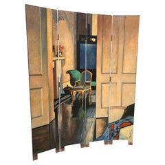 Large Dramatic Hand Painted 4 Panel Screen Room Divider