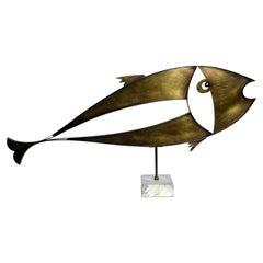 Large Brass Fish Sculpture, by Laszlo Pal Horvath, 1970s