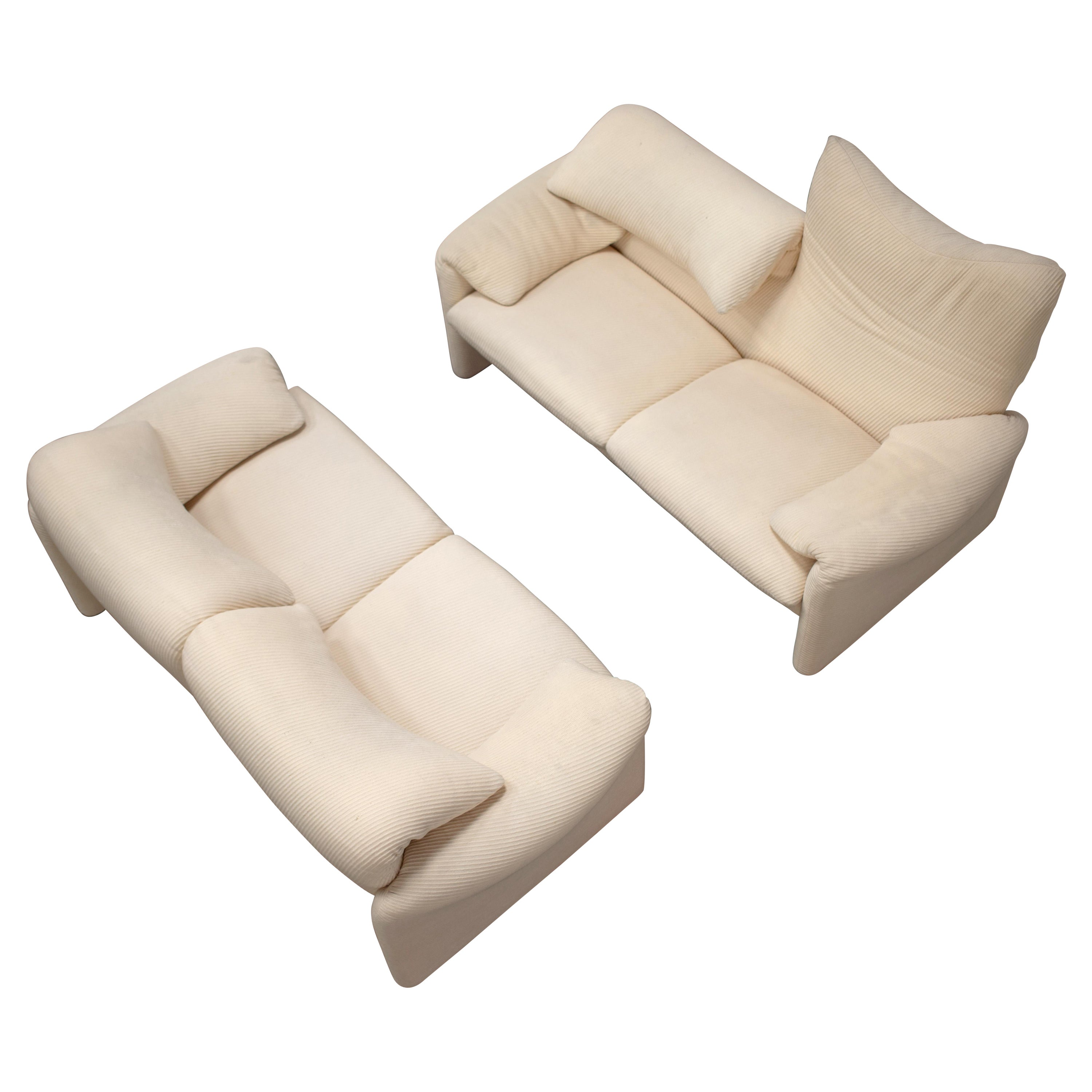 1970s Pair of 2-Seater Maralunga Sofas by Vico Magistretti for Cassina