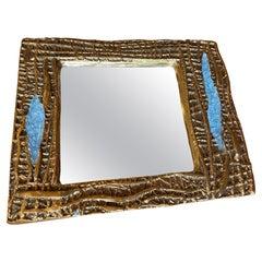 Mithé Espelt Ceramic Mirror, France, 1960s