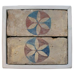 Set of Two 18th Century Spanish Hand Painted Ceramic Bricks