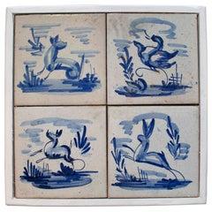 Set of Four 19th Century Dutch Delftware Hand Painted Glazed Ceramic Tiles