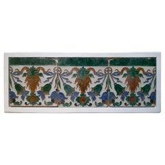 Set of Three 19th Century Spanish Hand Painted Glazed Ceramic Patterned Tiles