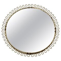 Mid-Century Modern Vintage Brassed Round Sunburst Wall Mirror Josef Frank Style