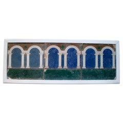 Set of Three 19th Century Spanish Hand Painted Glazed Ceramic Tiles w/ Arches