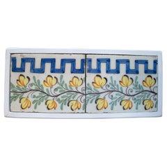 Set ofTwo 19th Century Spanish Hand Painted Glazed Ceramic Skirting Board Tiles