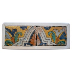 Set of Two 18th Century Spanish Hand Painted Glazed Ceramic Patterned Tiles