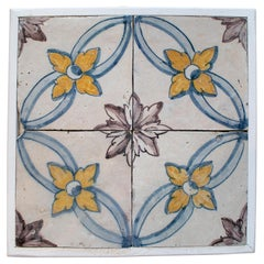 Set of Four 19th Century Portuguese Hand Painted Glazed Ceramic Patterned Tiles