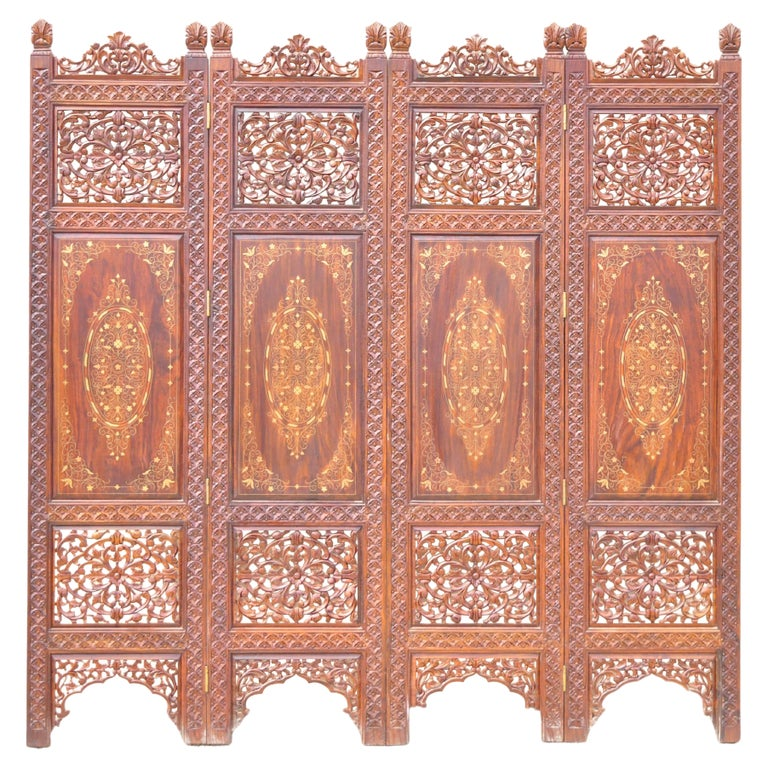 Vintage Anglo Indian Teak Wood Brass Inlay 4 Panel Room Divider Folding Screen For Sale