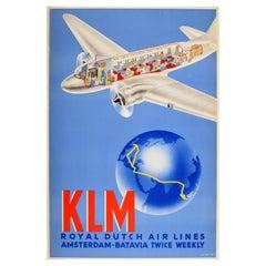 Original Vintage Poster KLM Royal Dutch Air Lines Amsterdam Batavia Douglas DC-3