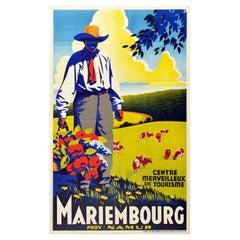 Original Vintage Travel Poster For Mariembourg Namur Belgium Flowers Countryside