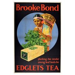 Original Vintage Drink Advertising Poster Brooke Bond Edglets Tea Picker Design