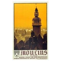Original Vintage PLM Railway Poster Moulins Sur Allier Jacquemart Bell Tower Art