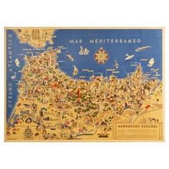 Original Vintage Map Poster Marruecos Espanol Spanish Morocco Illustrated Design