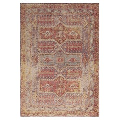 Rug & Kilim's Distressed Style Custom Rug in Blue, Red, Yellow Tribal Pattern