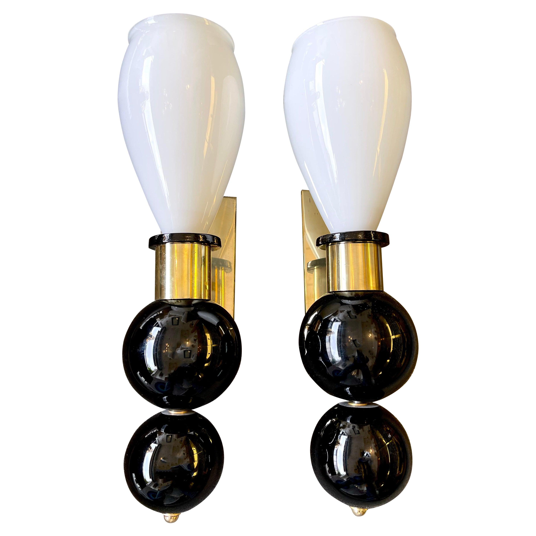 Contemporary Pair of Brass Murano Glass Sconces, Italy