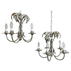 Pair of Silver Gilt Hans Kogl Faux Bamboo Chandeliers