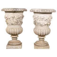 Pair, Grape Motif Cast Stone Campagna Urn Planters