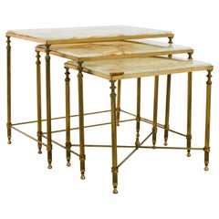1960s French Nesting Tables with Marble Tops