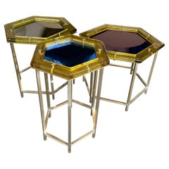 Contemporary Set of Brass Murano Glass Nesting Tables, Italy