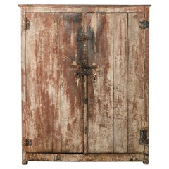 1920s Rustic Belgian Wooden Patinated Cabinet
