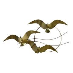 C Jere Brass Plated Bird Flock of Seagulls Wall Sculpture Signed Dated 1985