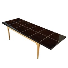 Sleek Parzinger # 161 Mid-Century Modern Laquered Mahogany & Maple Dining Table