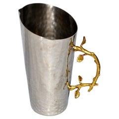 Art Deco Italian Hand-Hammered Steel & Bronze Branch Handle Champagne, Wine Jar