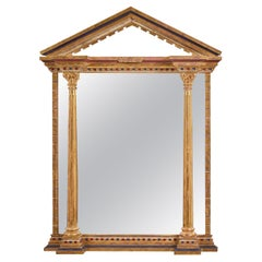 Large Gold Leaf and Polychromed Mirror with Pediment