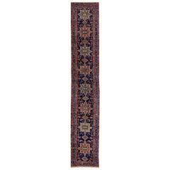Antique Persian Heriz Handmade Geometric Blue Wool Runner