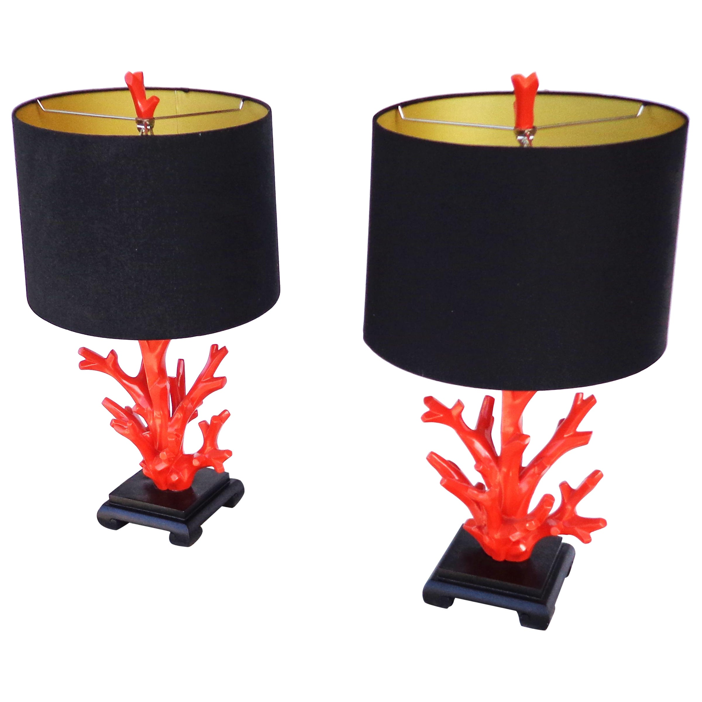 Pair of Faux Coral Lamps