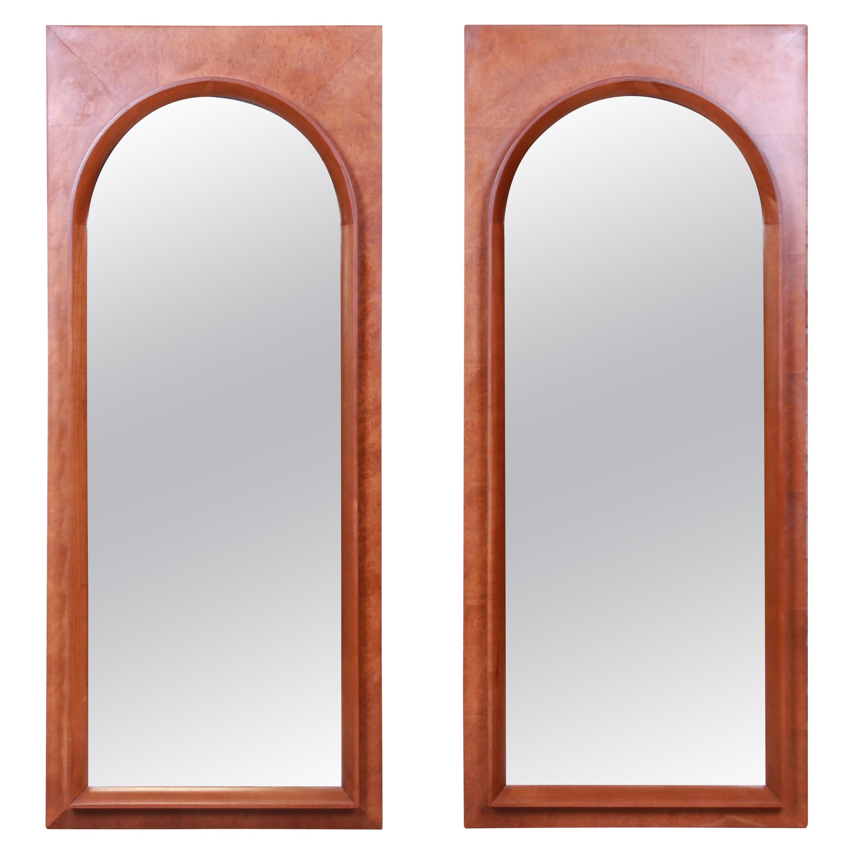 Thomasville Mid-Century Modern Burled Walnut Framed Arched Mirrors, Pair